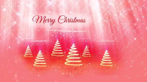 light composition for New Year or Christmas holidays with 3d Christmas tree from glowing particles and sparkles. With light rays and snowfall on red pink background. V11
