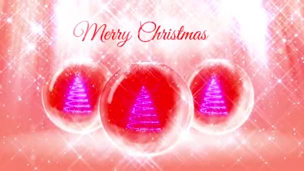 composition for New Year or Christmas holidays with 3d Christmas tree from glowing particles and sparkles in snowglobe or snowball. With rays such and snowfall on red pink background.1