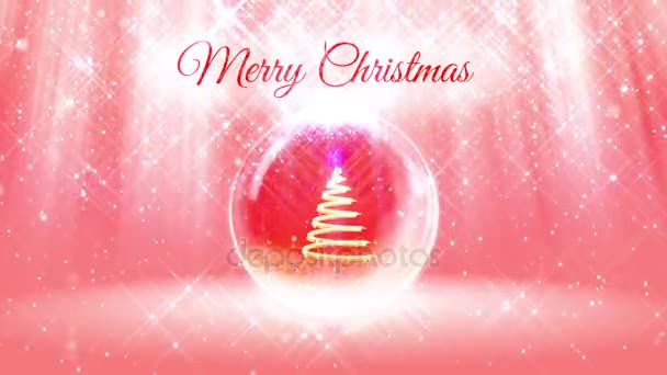 composition for New Year or Christmas holidays with 3d Christmas tree from glowing particles and sparkles in snowglobe or snowball. With rays such and snowfall on red pink background.10