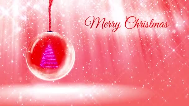 composition for New Year or Christmas holidays with 3d Christmas tree from glowing particles and sparkles in snowglobe or snowball. With rays such and snowfall on red pink background.13