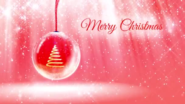 composition for New Year or Christmas holidays with 3d Christmas tree from glowing particles and sparkles in snowglobe or snowball. With rays such and snowfall on red pink background.15