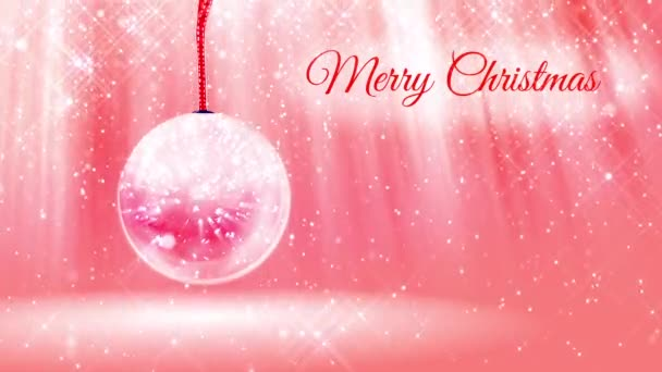 composition for New Year or Christmas holidays with 3d snow from glowing particles and sparkles in snowglobe or snowball. With rays such and snowfall on red pink background.18