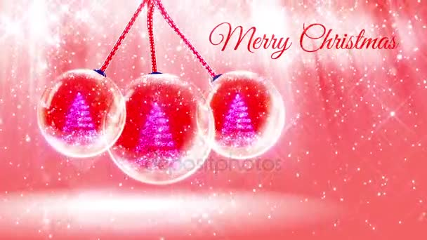 composition for New Year or Christmas holidays with 3d Christmas tree from glowing particles and sparkles in snowglobe or snowball. With rays such and snowfall on red pink background.22