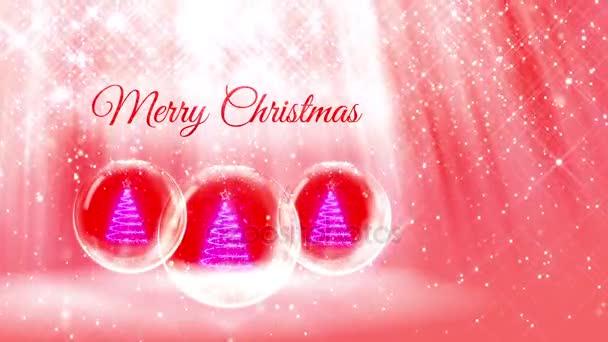 Komposition für Neujahr oder Weihnachten mit 3D-Weihnachtsbaum aus glühenden Partikeln und funkelt in Schneekugel oder Schneeball. mit solchen Strahlen und Schneefall auf rot-rosa Hintergrund 30