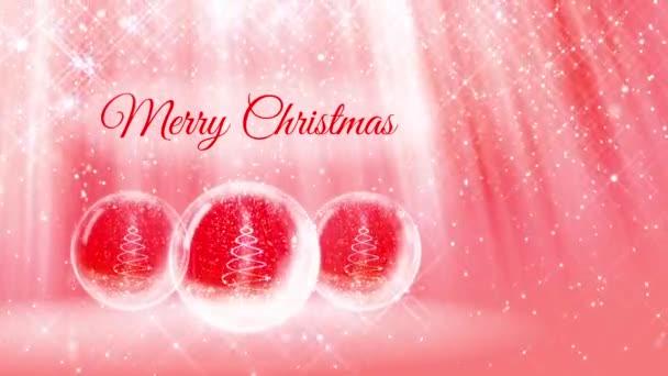 Komposition für Neujahr oder Weihnachten mit 3D-Weihnachtsbaum aus glühenden Partikeln und funkelt in Schneekugel oder Schneeball. mit solchen Strahlen und Schneefall auf rot-rosa Hintergrund. 31