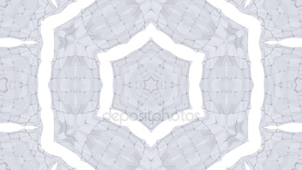 looped animation of 3d geometry, geometric forms and shapes are transformed. Grey composition in low poly style kaleidoscope effect. Motion graphics background for vj shows. 4k seamless footage .2