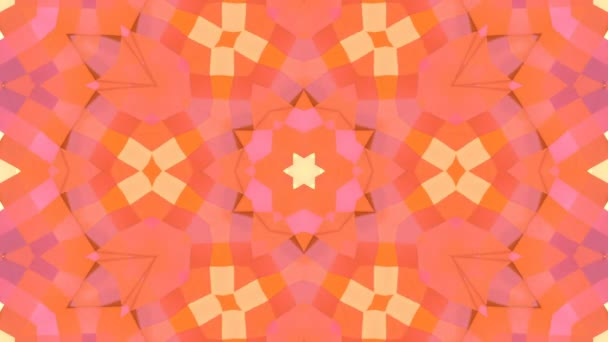 looped animation of 3d geometry, geometric forms and shapes are transformed. Orange composition in low poly style kaleidoscope effect. Motion graphics background for vj shows. 4k seamless footage .21