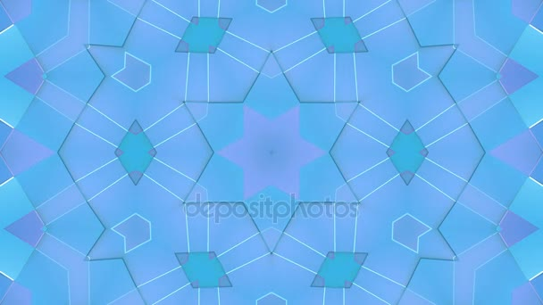 looped 3d geometry and transformed geometric forms. Abstract geometric composition in low poly style with kaleidoscope effect. Motion graphics background for vj effects. 4k seamless footage. V6
