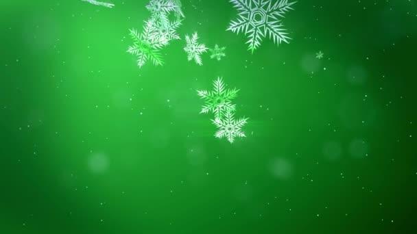 ragyogó 3d hópelyhek repülni a levegőben, egy zöld háttér. Használata animált karácsony, újév kártya vagy téli környezet nagy hópelyhek, lencse fényfolt, bokeh. Hópehely V9.