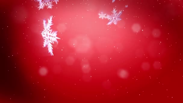 shining 3d snowflakes fly in air on a red background use as