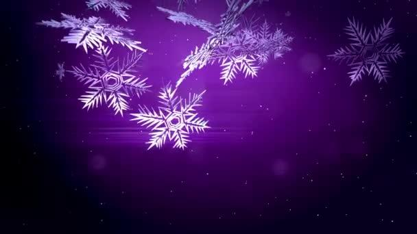 dekoratív 3d befagytak a lila háttér. Használata animált karácsony, újév kártya vagy téli környezet nagy hópelyhek, lencse fényfolt, bokeh. Hópehely V4