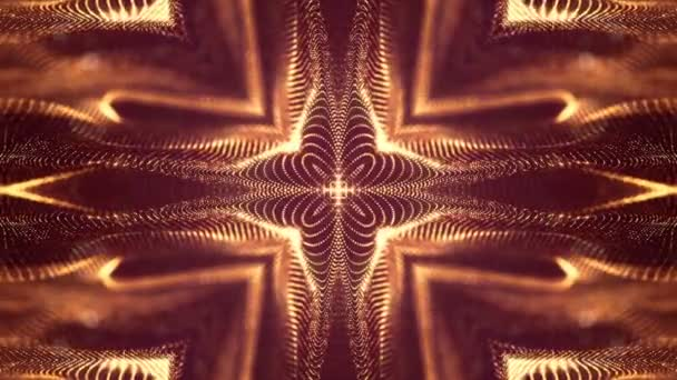 zlaté loopable abstraktní částic pozadí s hloubkou ostrosti, jiskří záře světel a digitální prvky. Vlnu částice tvoří čáry a čáry tvoří křivka povrchy jako vzorná. V1