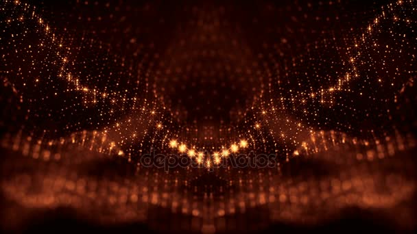 gold loopable abstract particle background with depth of field, glow sparkles of lights and digital elements. Wave particles form lines and lines form curve surfaces like rich pattern. V35