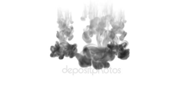 A lot of flows, black clouds or smoke, ink inject is isolated on white in slow motion. Black gouache drop in water. Inky background or smoke backdrop, for ink effects use luma matte like alpha mask