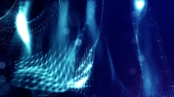 modré bezešvé pozadí abstraktní s částicemi. Virtuální prostor s hloubkou ostrosti, záře jiskří a digitální prvky. Částice tvoří linie, povrch a mřížky. Cyklických bg pro Hud nebo mikro světa 8
