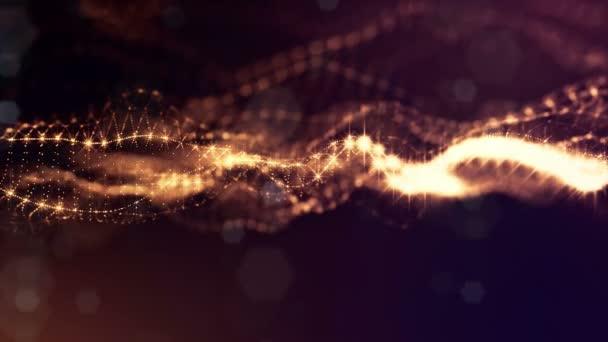 zlaté hladké pozadí abstraktní s částicemi. Virtuální prostor s hloubkou ostrosti, záře jiskří a digitální prvky. Částice tvoří linie, povrchu. Cyklických bg pro Hud nebo virtuální pozadí 18