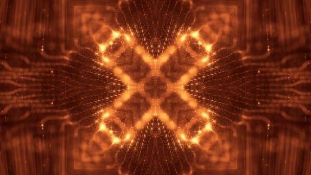zlaté hladké pozadí abstraktní s částicemi. Virtuální prostor s hloubkou ostrosti, záře jiskří a digitální prvky. Částice tvoří linie, povrchu. Cyklických bg pro Hud nebo virtuální pozadí 31