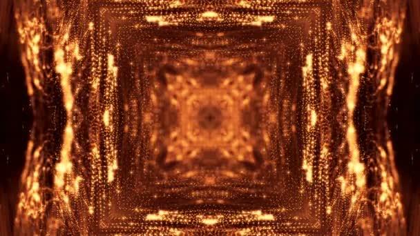 zlaté hladké pozadí abstraktní s částicemi. Virtuální prostor s hloubkou ostrosti, záře jiskří a digitální prvky. Částice tvoří linie, povrchu. Cyklických bg pro Hud nebo virtuální pozadí 38