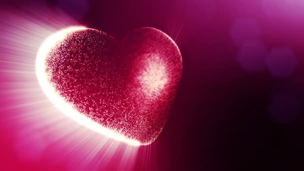 Smyčky 3d animace záře částice forma 3d červené srdce s hloubkou ostrosti a bokeh. Valentýn nebo svatební pozadí jako bezešvé pozadí s místem pro text a světelné paprsky. V1
