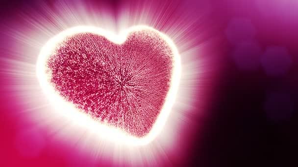 Smyčky 3d animace záře částice forma 3d červené srdce s hloubkou ostrosti a bokeh. Valentýn nebo svatební pozadí jako bezešvé pozadí s místem pro text a světelné paprsky. V3