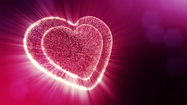 Smyčky 3d animace záře částice forma 3d červené srdce s hloubkou ostrosti a bokeh. Valentýn nebo svatební pozadí jako bezešvé pozadí s místem pro text a světelné paprsky. V5