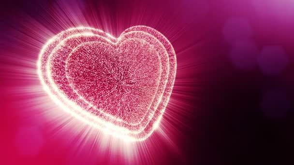 gedrehte 3D-Animation von Glühpartikeln bilden ein rotes Herz mit Schärfentiefe und Bokeh. für Valentinstag oder Hochzeitshintergrund als nahtloser Hintergrund mit Platz für Text und Lichtstrahlen. v6