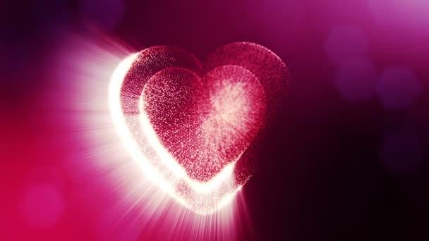 Smyčky 3d animace záře částice forma 3d červené srdce s hloubkou ostrosti a bokeh. Valentýn nebo svatební pozadí jako bezešvé pozadí s místem pro text a světelné paprsky. V11