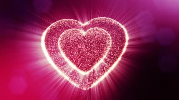 Végtelenített 3d animáció fény részecskék képernyő 3d piros szív, mélységélesség és a bokeh. Valentin-nap vagy esküvői háttérben, mint a hely, a szöveg és a fénysugarak varratmentes háttérben. V12