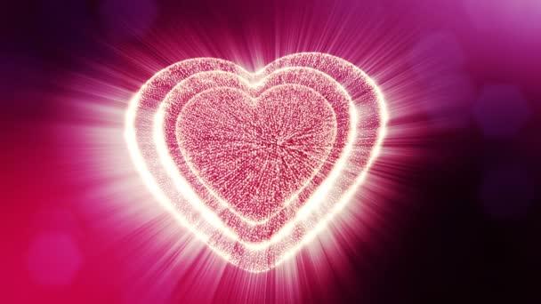 Smyčky 3d animace záře částice forma 3d červené srdce s hloubkou ostrosti a bokeh. Valentýn nebo svatební pozadí jako bezešvé pozadí s místem pro text a světelné paprsky. V13
