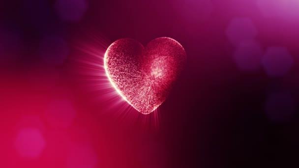 Smyčky 3d animace záře částice forma 3d červené srdce s hloubkou ostrosti a bokeh. Valentýn nebo svatební pozadí jako bezešvé pozadí s místem pro text a světelné paprsky. V15