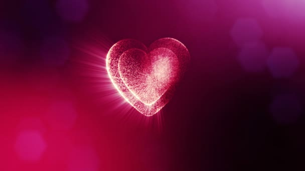 Looped 3d animation of glow particles form 3d red heart with depth of field and bokeh. For valentines day or wedding background as seamless background with space for text and light rays. V18