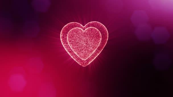 Végtelenített 3d animáció fény részecskék képernyő 3d piros szív, mélységélesség és a bokeh. Valentin-nap vagy esküvői háttérben, mint a hely, a szöveg és a fénysugarak varratmentes háttérben. V19