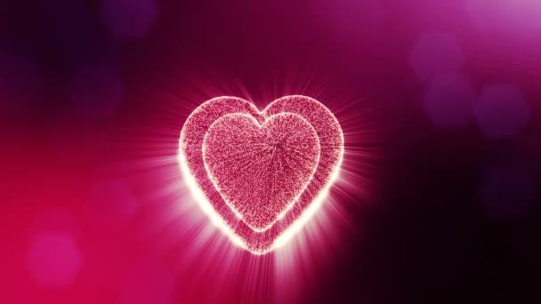 gedrehte 3D-Animation von Glühpartikeln bilden ein rotes Herz mit Schärfentiefe und Bokeh. für Valentinstag oder Hochzeitshintergrund als nahtloser Hintergrund mit Platz für Text und Lichtstrahlen. v33