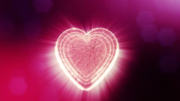 gedrehte 3D-Animation von Glühpartikeln bilden ein rotes Herz mit Schärfentiefe und Bokeh. für Valentinstag oder Hochzeitshintergrund als nahtloser Hintergrund mit Platz für Text und Lichtstrahlen. v34