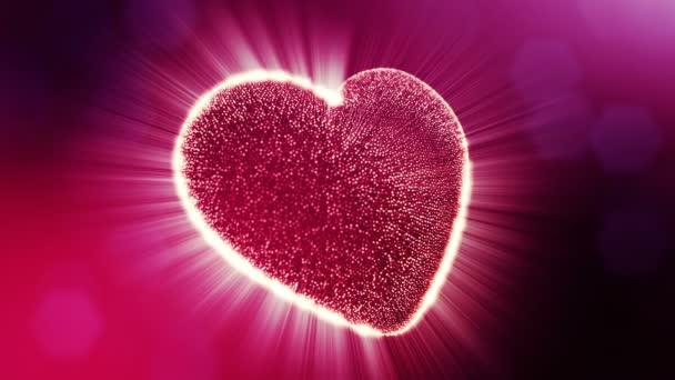 Hurok a 3D-s animáció fény részecskék képernyő 3d piros szív, mélységélesség és a bokeh. Használata a Valentin-nap, vagy esküvői háttér mint varratmentes háttérben a hely a szöveg és a fénysugarak. V2