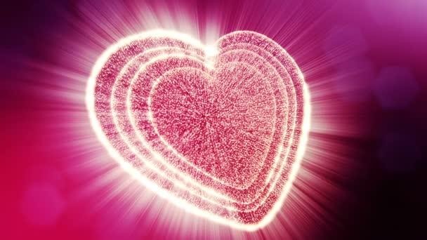 Smyčka 3d animace záře částice forma 3d červené srdce s hloubkou ostrosti a bokeh. Použití pro valentinky den nebo svatební pozadí jako bezešvé pozadí s místem pro text a světelné paprsky. V7