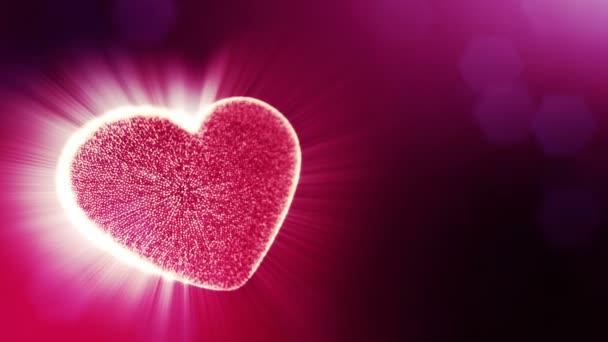 Smyčka 3d animace záře částice forma 3d červené srdce s hloubkou ostrosti a bokeh. Použití pro valentinky den nebo svatební pozadí jako bezešvé pozadí s místem pro text a světelné paprsky. V9