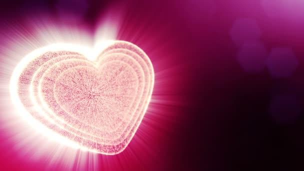 Smyčka 3d animace záře částice forma 3d červené srdce s hloubkou ostrosti a bokeh. Použití pro valentinky den nebo svatební pozadí jako bezešvé pozadí s místem pro text a světelné paprsky. V14