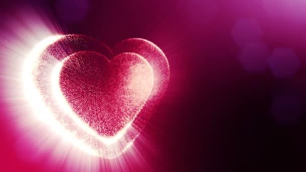 Smyčka 3d animace záře částice forma 3d červené srdce s hloubkou ostrosti a bokeh. Použití pro valentinky den nebo svatební pozadí jako bezešvé pozadí s místem pro text a světelné paprsky. V22