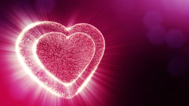 Smyčka 3d animace záře částice forma 3d červené srdce s hloubkou ostrosti a bokeh. Použití pro valentinky den nebo svatební pozadí jako bezešvé pozadí s místem pro text a světelné paprsky. V23