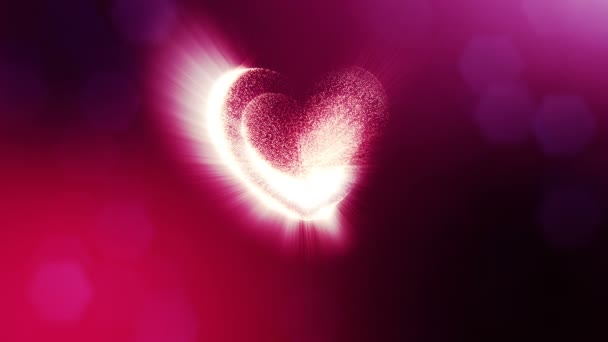 Loop 3d animation of glow particles form 3d red heart with depth of field and bokeh. Use for valentines day or wedding background as seamless background with space for text and light rays. V49