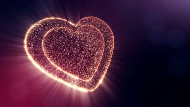 Loop 3d animation of glow particles form 3d red heart with depth of field and bokeh on dark background. Use for valentines day or wedding background as seamless footage. V5