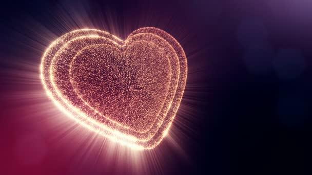 Smyčka 3d animace záře částice forma 3d červené srdce s hloubkou ostrosti a bokeh na tmavém pozadí. Používá se pro valentinky den nebo svatební pozadí jako plynulé záběry. V6