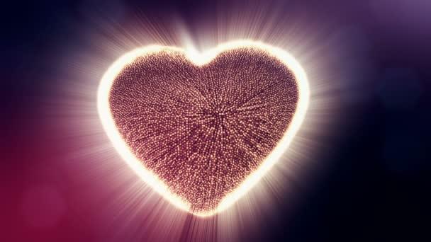 Smyčka 3d animace záře částice forma 3d červené srdce s hloubkou ostrosti a bokeh na tmavém pozadí. Používá se pro valentinky den nebo svatební pozadí jako plynulé záběry. V9