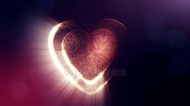 Hurok a 3D-s animáció fény részecskék képernyő 3d piros szív, mélységélesség és a sötét háttérben a bokeh. Valentin-nap vagy esküvői háttér használata a varrat nélküli hosszúság. V10