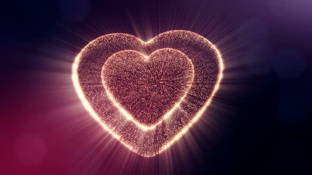 Smyčka 3d animace záře částice forma 3d červené srdce s hloubkou ostrosti a bokeh na tmavém pozadí. Používá se pro valentinky den nebo svatební pozadí jako plynulé záběry. V11