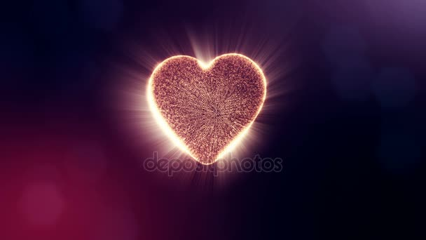 Loop 3d animation of glow particles form 3d red heart with depth of field and bokeh on dark background. Use for valentines day or wedding background as seamless footage. V13