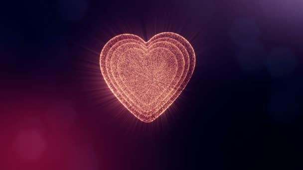 Loop 3d animation of glow particles form 3d red heart with depth of field and bokeh on dark background. Use for valentines day or wedding background as seamless footage. V15