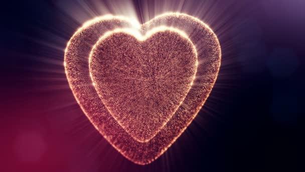 Smyčka 3d animace záře částice forma 3d červené srdce s hloubkou ostrosti a bokeh na tmavém pozadí. Používá se pro valentinky den nebo svatební pozadí jako plynulé záběry. V18