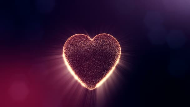 Loop 3d animation of glow particles form 3d red heart with depth of field and bokeh on dark background. Use for valentines day or wedding background as seamless footage. V21